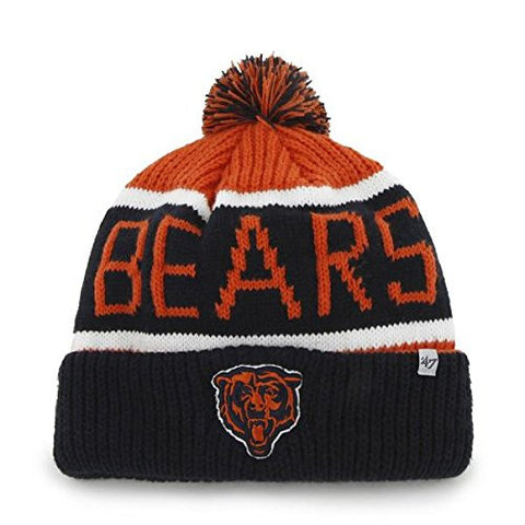 "Chicago Bears Blue Cuff ""Calgary"" Beanie Hat with Pom - NFL Cuffed Winter Knit Toque Cap"