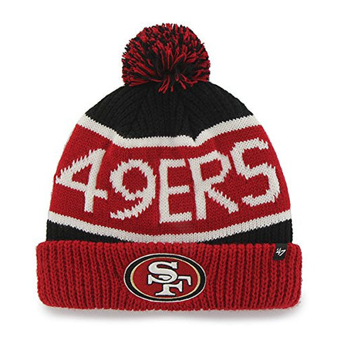 "San Francisco 49ers Red Cuff ""Calgary"" Beanie Hat with Pom - NFL SF Cuffed Winter Knit Toque Cap"