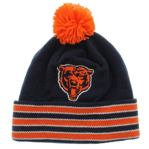 Chicago Bears Mitchell & Ness Throwback Beanie - NFL Knit Hat with Pom