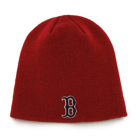 "Boston Red Sox ""Red"" Skull Cap - MLB Cuffless Beanie Toque Knit Hat"