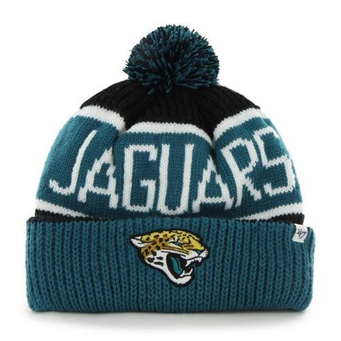 "Jacksonville Jaguars Black Teal ""Calgary"" Beanie Hat with Pom - NFL Cuffed Winter Knit Toque Cap"