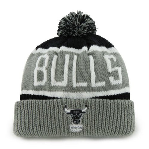 "Chicago Bulls Gray Windy City ""Calgary"" Beanie Hat with Pom - NBA Grey Cuffed Winter Knit Toque Cap"