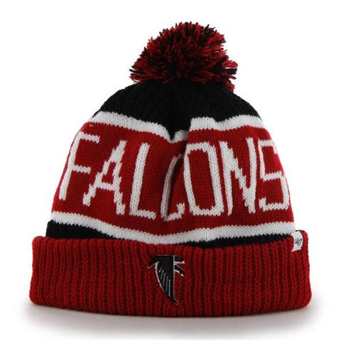 "Atlanta Falcons Red Cuff ""Calgary"" Beanie Hat with Pom - NFL Cuffed Winter Knit Toque Cap"
