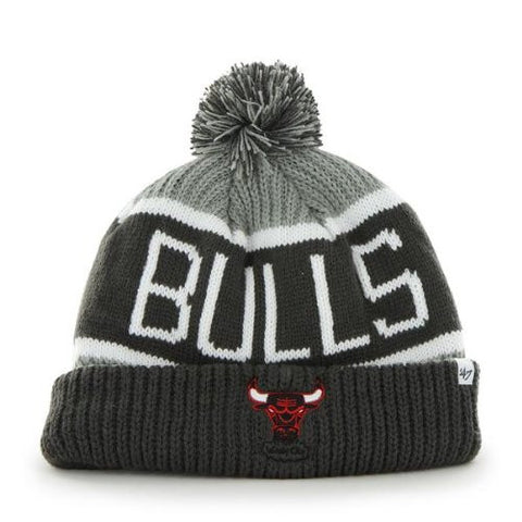 "Chicago Bulls Charcoal Gray Windy City ""Calgary"" Beanie Hat with Pom - NBA Grey Cuffed Winter Knit Toque Cap"