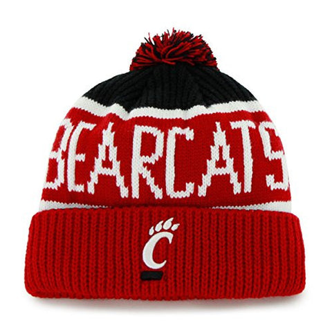 "Cincinnati Bearcats Red Cuff ""Calgary"" Beanie Hat with Pom - NCAA Cuffed Winter Knit Toque Cap"