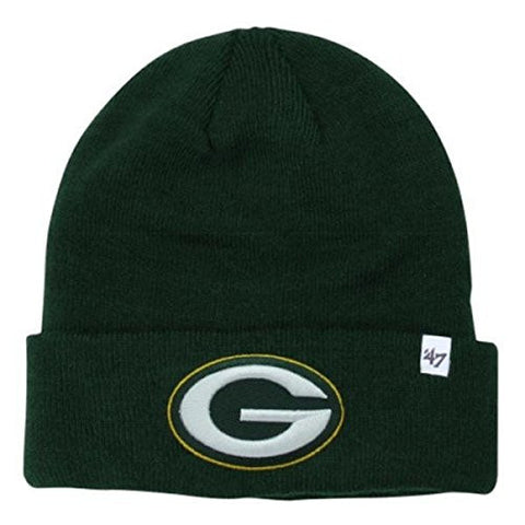 '47 Brand Green Bay Packers Green Cuff Beanie Hat - NFL Cuffed Winter Knit Toque Cap