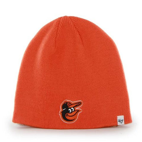 Baltimore Orioles Orange Skull Cap - MLB Cuffless Beanie Toque Knit Hat