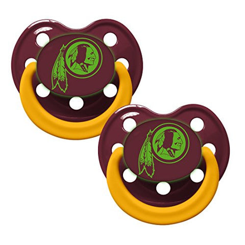 Washington Redskins Glow in Dark 2-Pack Baby Pacifier Set - NFL Infant Pacifiers
