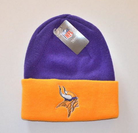 Minnesota Vikings 2-Tone Beanie Hat - NFL Knit Toque Cuffed Cap