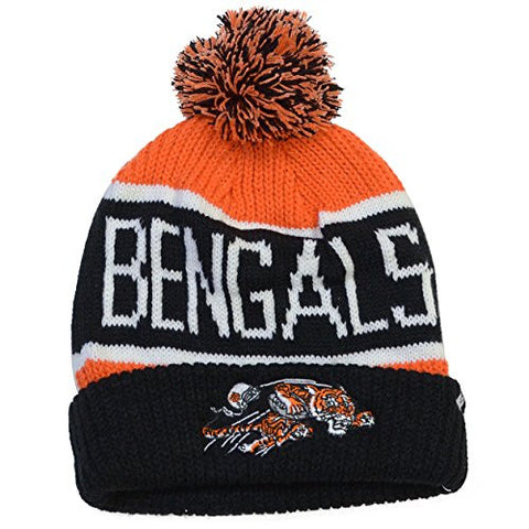 "Cincinnati Bengals Black Cuff ""Calgary"" Beanie Hat with Pom Pom - NFL Cuffed Winter Knit Toque Cap"