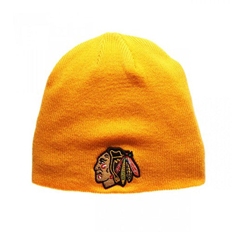 "Chicago Blackhawks Yellow ""Edge"" Skull Cap - NHL Cuffless Winter Knit Beanie Toque Hat"