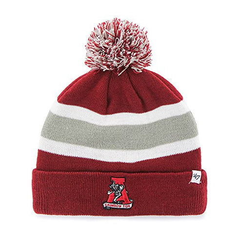 "Alabama Crimson Tide Red Cuff ""Breakaway"" Beanie Hat with Pom - NCAA Cuffed Winter Knit Toque Cap"