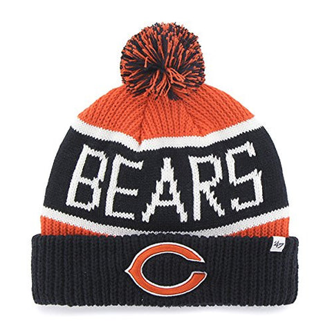 "47 Brand Chicago Bears Navy ""Calgary"" Beanie Hat with Pom - NFL Cuffed Winter Knit Toque Cap"