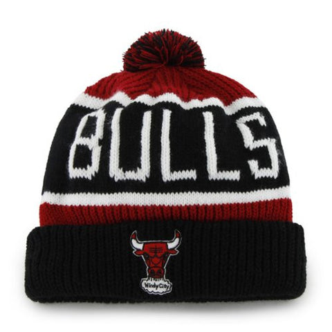 "Chicago Bulls Black Windy City ""Calgary"" Beanie Hat with Pom - NBA Cuffed Winter Knit Toque Cap"