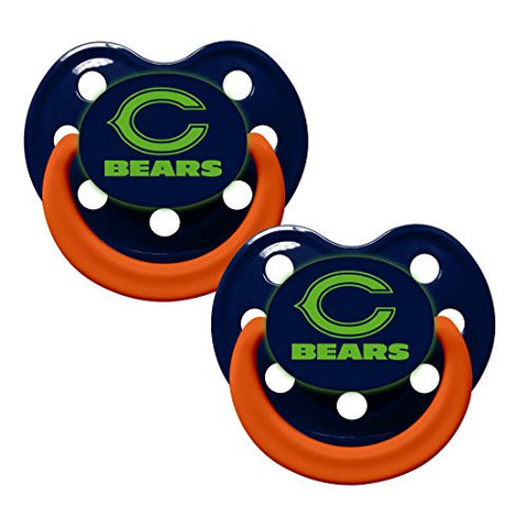 Chicago Bears Glow in Dark 2-Pack Baby Pacifier Set - NFL Infant Pacifiers