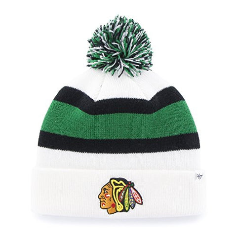 "Chicago Blackhawks White Cuff ""Breakaway"" Beanie Hat with Pom - NHL Cuffed Winter Knit Toque Cap"