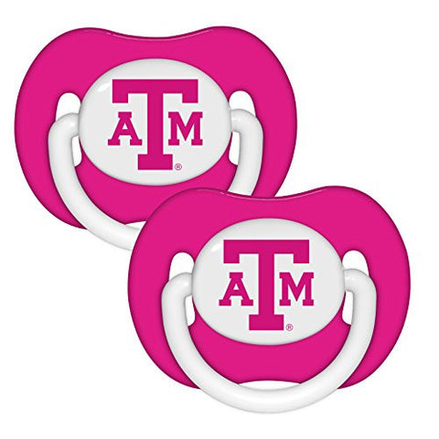 Texas A&M Aggies Pink 2-pack Infant Pacifier Set - 2014 NCAA Baby Girl Pacifiers