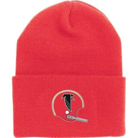 Atlanta Falcons Red Vintage Beanie Hat - NFL Throwback Cuffed Knit Toque Cap