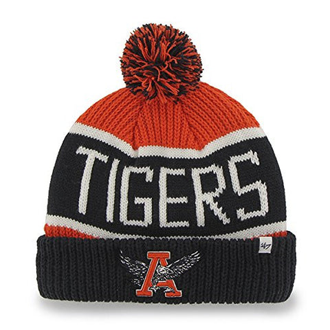 "Auburn Tigers Navy Vintage ""Calgary"" Beanie Hat with Pom - NCAA Cuffed Winter Knit Toque Cap"