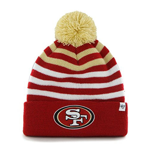 "YOUTH San Francisco 49ers Red Cuff ""Yipes"" Beanie Hat with Pom - NFL Kid's Cuffed Winter Knit Toque Cap"