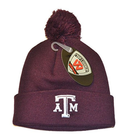"Texas A&M Aggies Maroon ""Rookie"" Youth Beanie Hat POM POM - NCAA Toddler/Kids Cuffed Winter Toque Knit Cap"