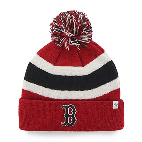 "Boston Red Sox Red Cuff ""Breakaway"" Beanie Hat with Pom - MLB Cuffed Winter Knit Toque Cap"