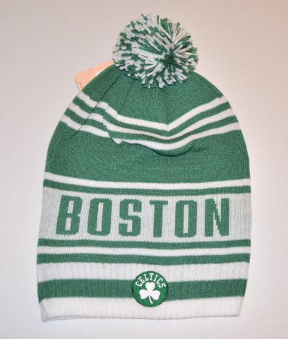 Boston Celtics Long Striped White Beanie Cap with Pom - NBA Cuffed Knit Hat