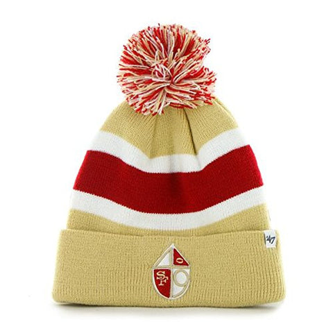 "San Francisco 49ers Gold Cuff ""Breakaway"" Beanie Hat with Pom - NFL NY Cuffed Winter Knit Toque Cap"