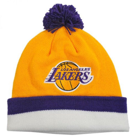 d14fcf623ad58 Los Angeles Lakers Mitchell   Ness Throwback Beanie Cap - NBA LA Knit Hat  with Pom