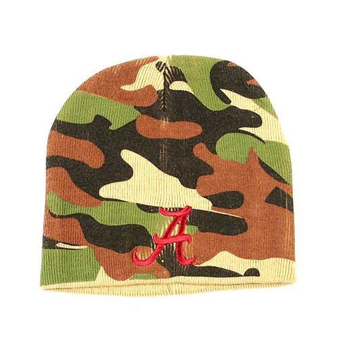 Alabama Crimson Rolling Tide Camouflage Skull Cap - NCAA Camo Cuffless Winter Knit Toque Hat