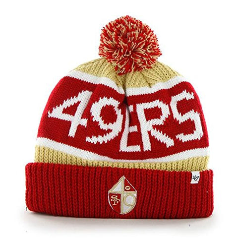 "San Francisco 49ers Red Vintage ""Calgary"" Beanie Hat with Pom - NFL SF Cuffed Winter Knit Toque Cap"