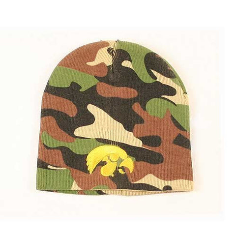 Iowa Hawkeyes Camouflage Skull Cap - NCAA Camo Cuffless Winter Beanie Knit Hat