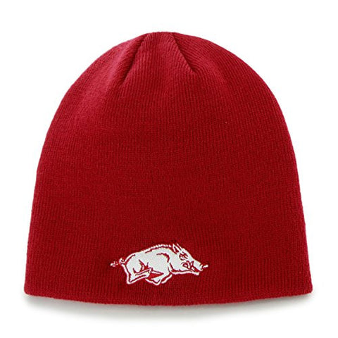 Arkansas Razorbacks Red Skull Cap - NCAA Cuffless Winter Knit Toque Beanie Hat