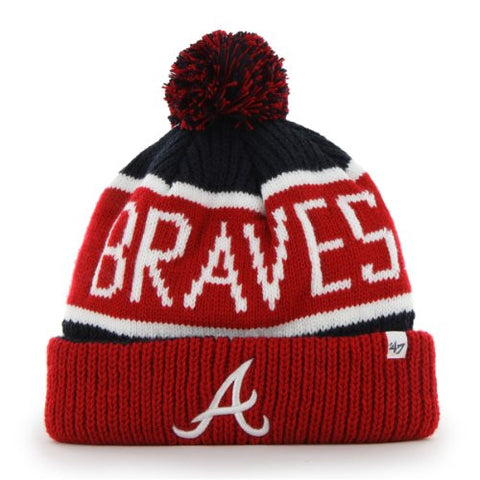 "Atlanta Braves Red Cuff ""Calgary"" Beanie Hat with Pom - MLB Cuffed Winter Knit Toque Cap"