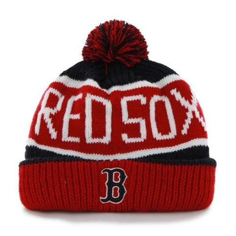 "Boston Red Sox ""Calgary"" Beanie Hat with Pom - MLB Cuffed Winter Knit Toque Cap"