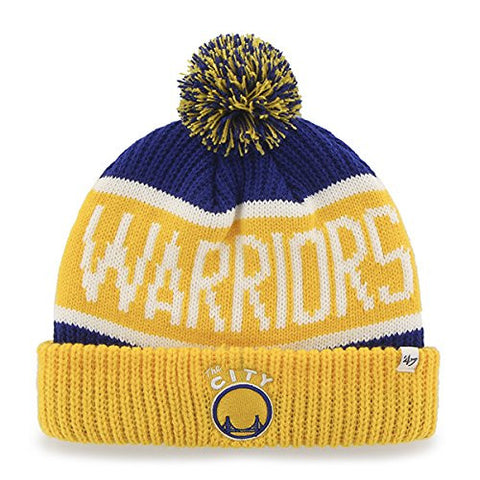 "Golden State Warriors Yellow ""Calgary"" Pom Beanie Cap - NBA Vintage SF Cuffed Knit Hat"