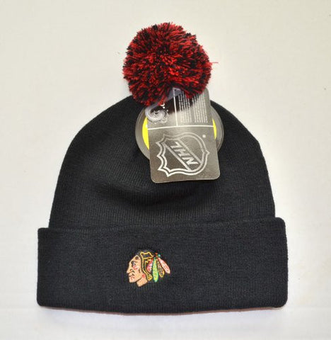 Chicago Blackhawks Black Beanie Hat with Pom - NHL Zephyr Cuffed Knit Cap