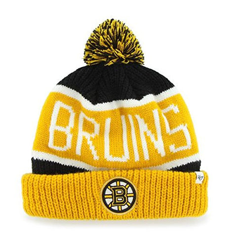 "Boston Bruins Yellow Cuff ""Calgary"" Beanie Hat with Pom - NHL Cuffed Winter Knit Toque Cap"