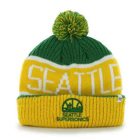 "Seattle Supersonics Yellow Cuff ""Calgary"" Beanie Hat with Pom - NBA Sonics Cuffed Winter Knit Toque Cap"