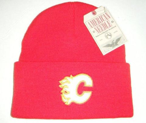 Calgary Flames Red Beanie Hat - NHL Cuffed Winter Knit Toque Cap