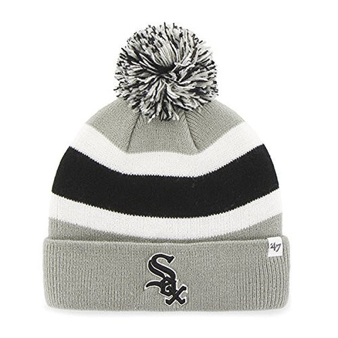 "Chicago White Sox Gray ""Breakaway"" Beanie Hat with Pom - MLB Cuffed Winter Knit Toque Cap"