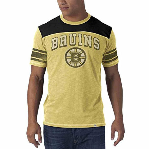 "NHL Boston Bruins ""Top Gun"" Men's Scrum Tee, 47 Brand Gold T-Shirt"