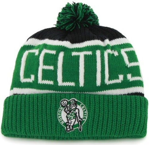"Boston Celtics Green Cuff ""Calgary"" Pom Beanie Cap - NBA Cuffed Knit Hat"