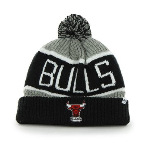 "Chicago Bulls Black/Gray ""Calgary"" Beanie Hat with Pom - NBA Cuffed Winter Knit Toque Cap"