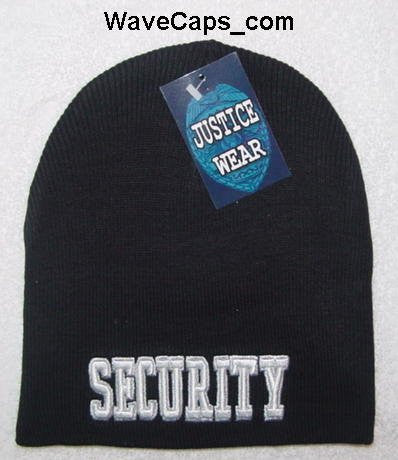 DELUXE BLACK SECURITY EMBROIDERED WATCH CAP-Security Beanies
