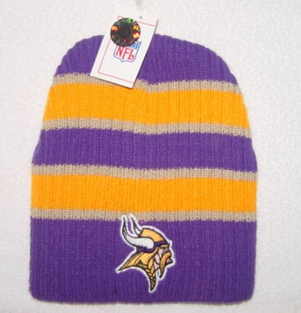 Minnesota Vikings Striped Bunker Skull Cap - NFL Cuffless Beanie Knit Hat