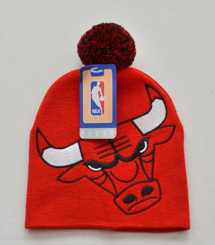 "Chicago Bulls Red ""Hype"" Big Logo Skull Cap with Pom - NBA Cuffless Winter Knit Toque Beanie Cap"