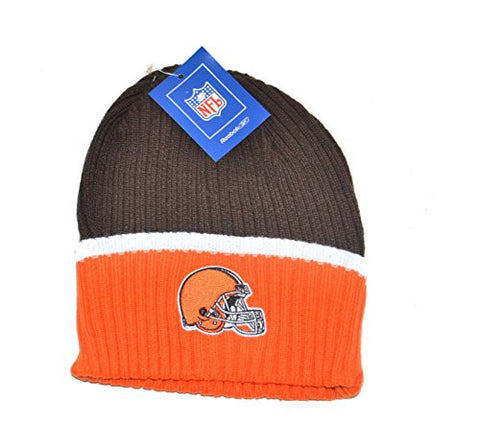 Cleveland Browns Child/Kid's 2-Tone Beanie Hat - Youth NFL Thin Ribbed Knit Cuffed Cap