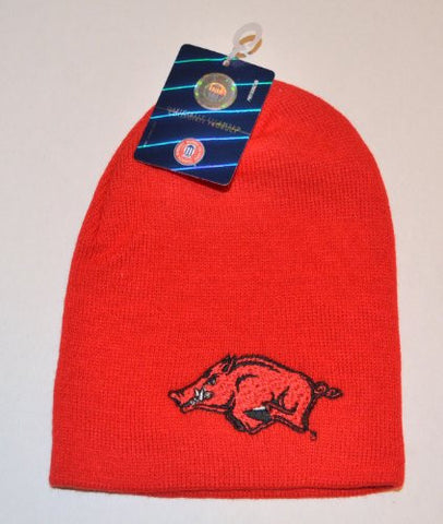 Arkansas Razorbacks Solid Red Skull Youth Size Cap - NCAA Cuffless Child Winter Knit Toque Hat