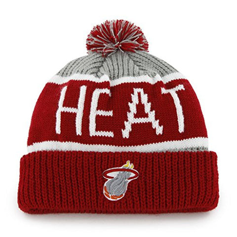 "Miami Heat Red/Gray ""Calgary"" Beanie Hat with Pom - NBA Cuffed Winter Knit Toque Cap"